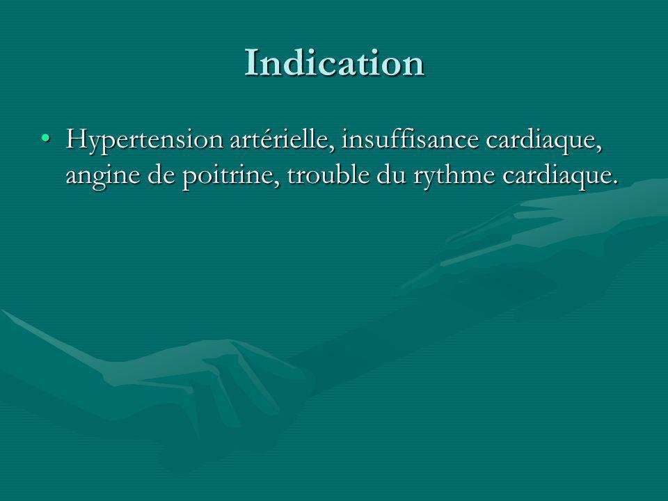 Indication Hypertension artérielle, insuffisance cardiaque, angine de poitrine, trouble du rythme cardiaque.Hypertension artérielle, insuffisance card