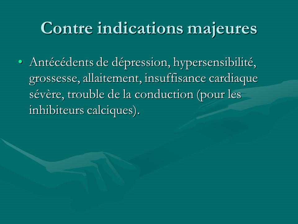 Contre indications majeures Antécédents de dépression, hypersensibilité, grossesse, allaitement, insuffisance cardiaque sévère, trouble de la conducti