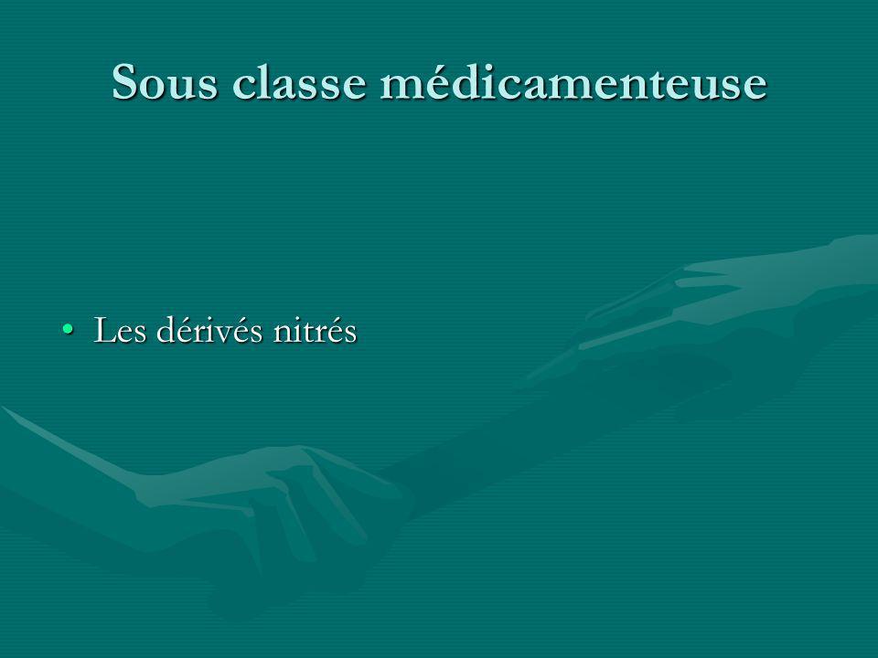 Sous classe médicamenteuse Les dérivés nitrésLes dérivés nitrés