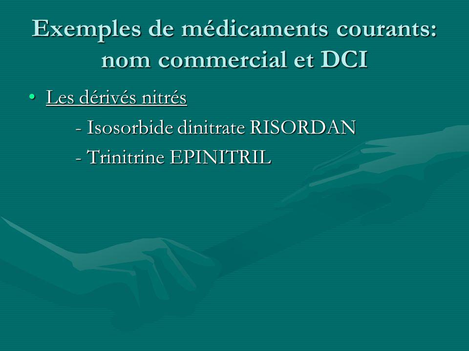 Exemples de médicaments courants: nom commercial et DCI Les dérivés nitrésLes dérivés nitrés - Isosorbide dinitrate RISORDAN - Trinitrine EPINITRIL