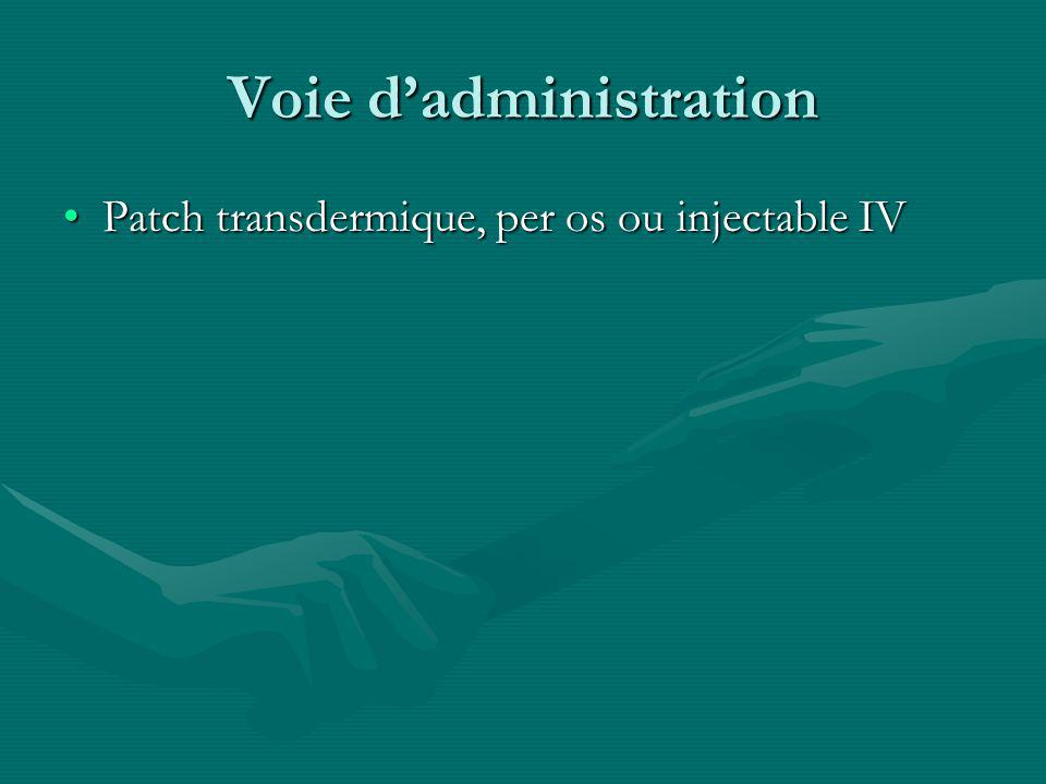 Voie dadministration Patch transdermique, per os ou injectable IVPatch transdermique, per os ou injectable IV