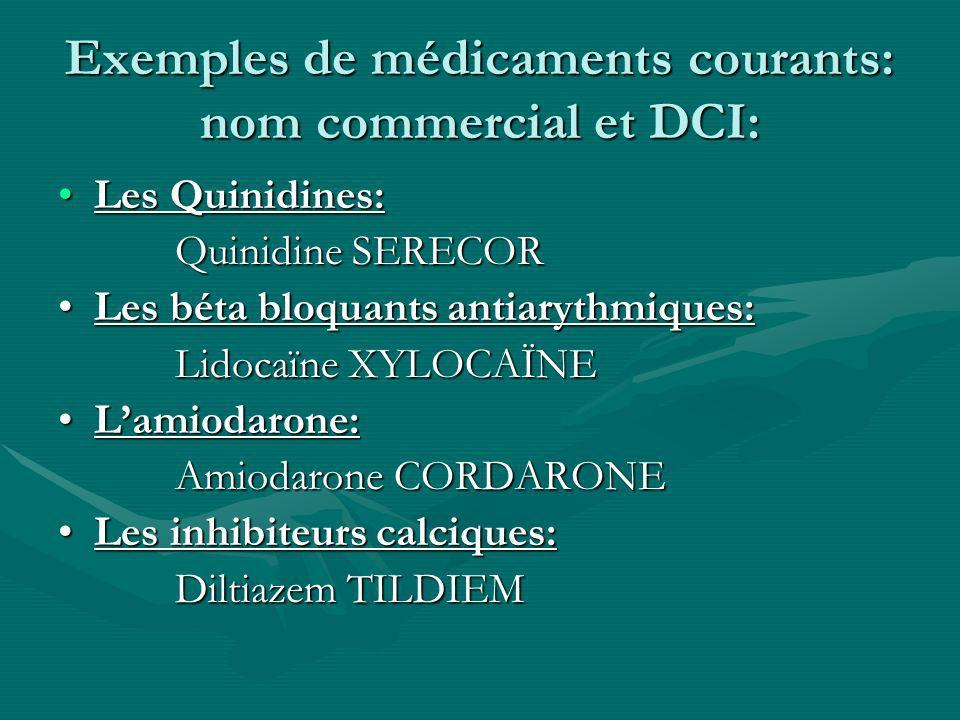 Exemples de médicaments courants: nom commercial et DCI: Les Quinidines:Les Quinidines: Quinidine SERECOR Quinidine SERECOR Les béta bloquants antiary