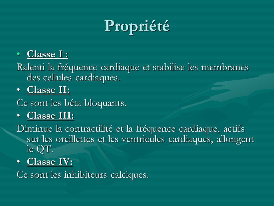 Propriété Classe I :Classe I : Ralenti la fréquence cardiaque et stabilise les membranes des cellules cardiaques. Classe II:Classe II: Ce sont les bét