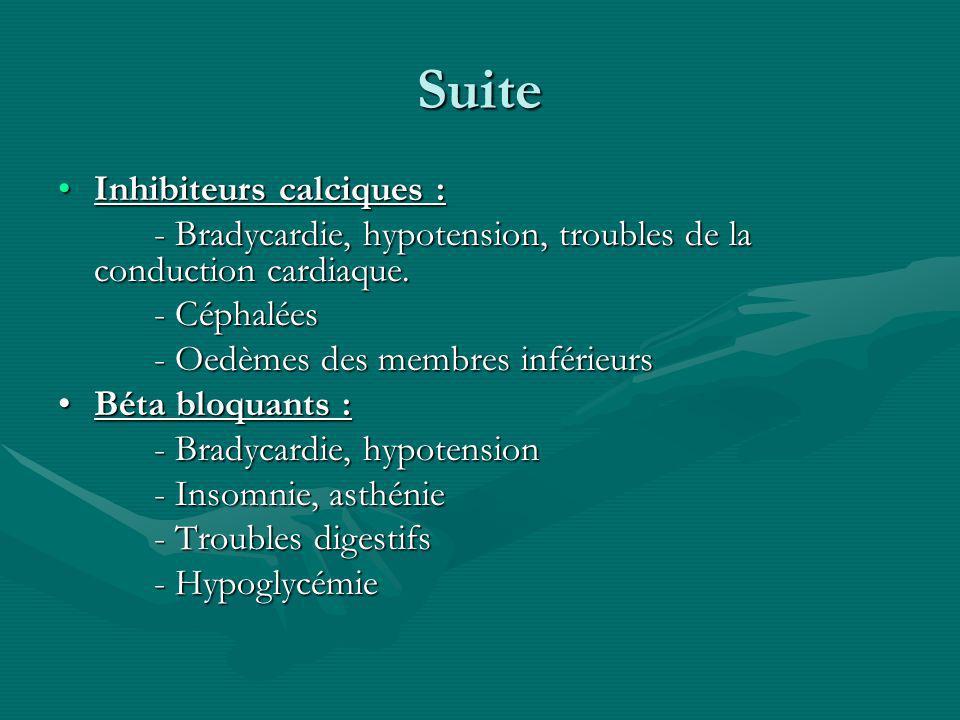 Suite Inhibiteurs calciques :Inhibiteurs calciques : - Bradycardie, hypotension, troubles de la conduction cardiaque. - Céphalées - Oedèmes des membre