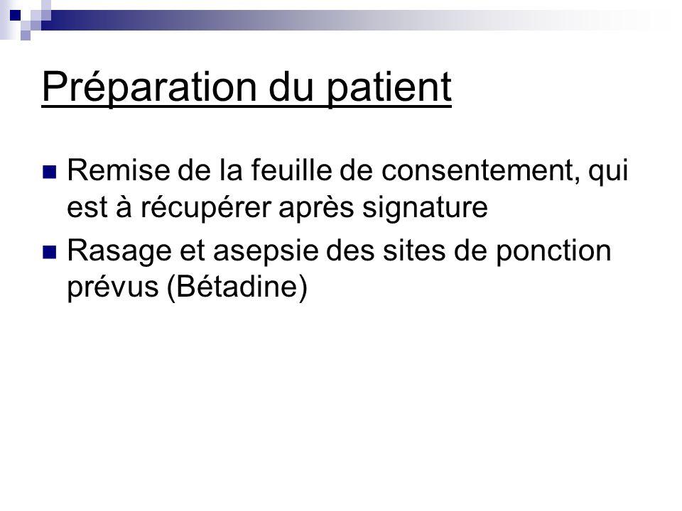 Préparation du patient Remise de la feuille de consentement, qui est à récupérer après signature Rasage et asepsie des sites de ponction prévus (Bétad