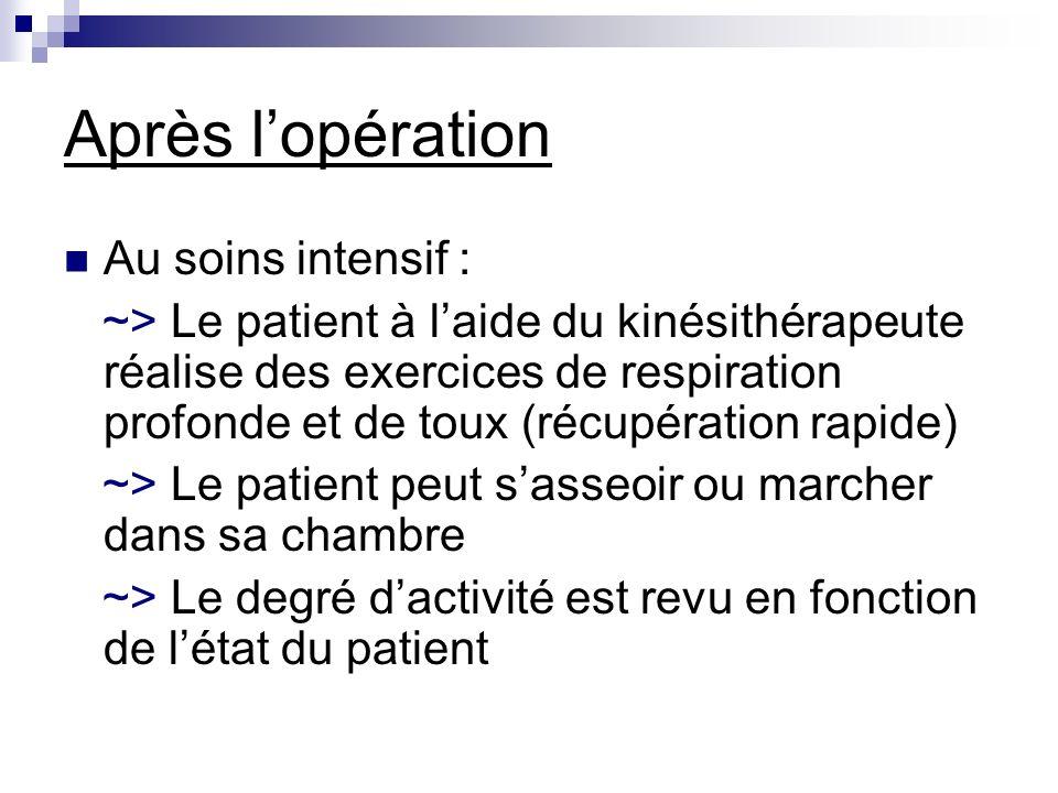 Après lopération Au soins intensif : ~> Le patient à laide du kinésithérapeute réalise des exercices de respiration profonde et de toux (récupération