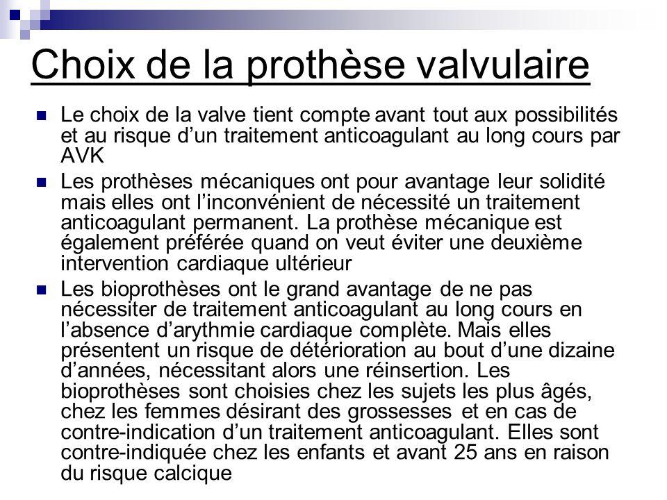 Choix de la prothèse valvulaire Le choix de la valve tient compte avant tout aux possibilités et au risque dun traitement anticoagulant au long cours