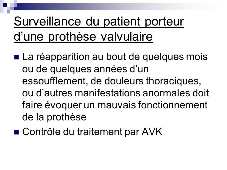 Surveillance du patient porteur dune prothèse valvulaire La réapparition au bout de quelques mois ou de quelques années dun essoufflement, de douleurs