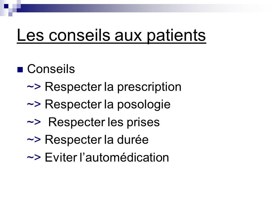 Les conseils aux patients Conseils ~> Respecter la prescription ~> Respecter la posologie ~> Respecter les prises ~> Respecter la durée ~> Eviter laut
