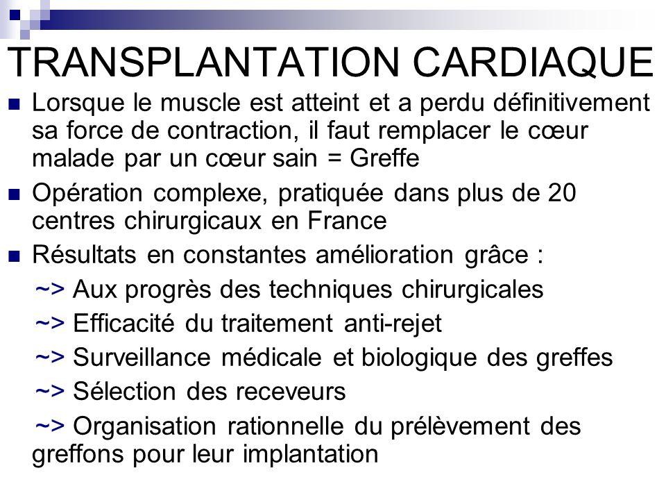 TRANSPLANTATION CARDIAQUE Lorsque le muscle est atteint et a perdu définitivement sa force de contraction, il faut remplacer le cœur malade par un cœu