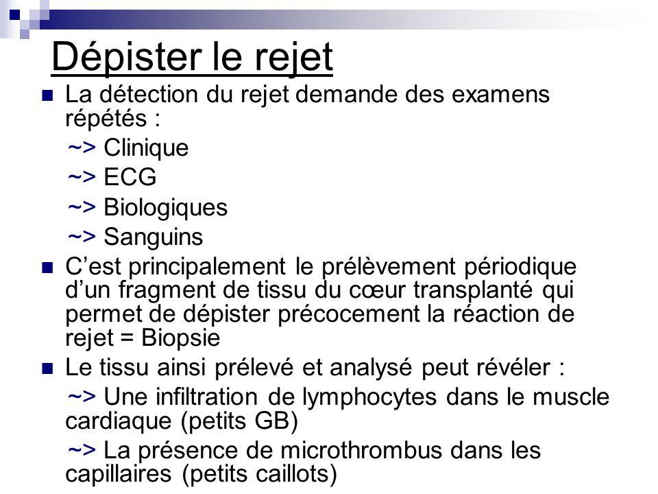 Dépister le rejet La détection du rejet demande des examens répétés : ~> Clinique ~> ECG ~> Biologiques ~> Sanguins Cest principalement le prélèvement