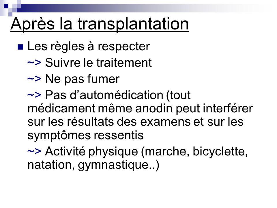 Après la transplantation Les règles à respecter ~> Suivre le traitement ~> Ne pas fumer ~> Pas dautomédication (tout médicament même anodin peut inter