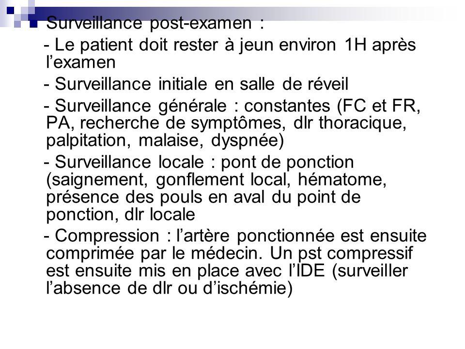 Surveillance post-examen : - Le patient doit rester à jeun environ 1H après lexamen - Surveillance initiale en salle de réveil - Surveillance générale