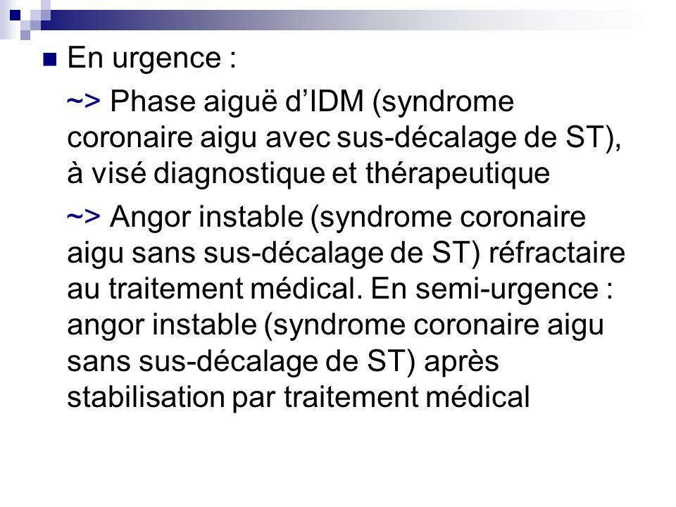 En urgence : ~> Phase aiguë dIDM (syndrome coronaire aigu avec sus-décalage de ST), à visé diagnostique et thérapeutique ~> Angor instable (syndrome c