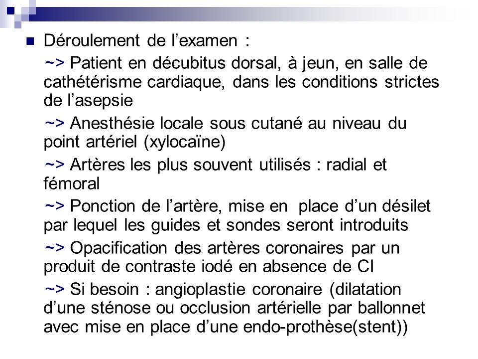 Déroulement de lexamen : ~> Patient en décubitus dorsal, à jeun, en salle de cathétérisme cardiaque, dans les conditions strictes de lasepsie ~> Anest