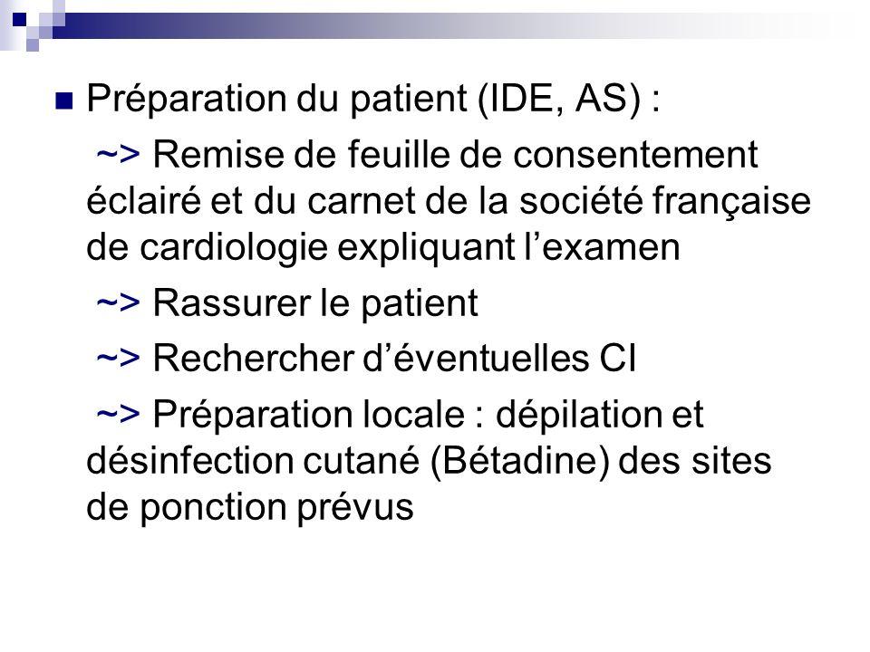Préparation du patient (IDE, AS) : ~> Remise de feuille de consentement éclairé et du carnet de la société française de cardiologie expliquant lexamen