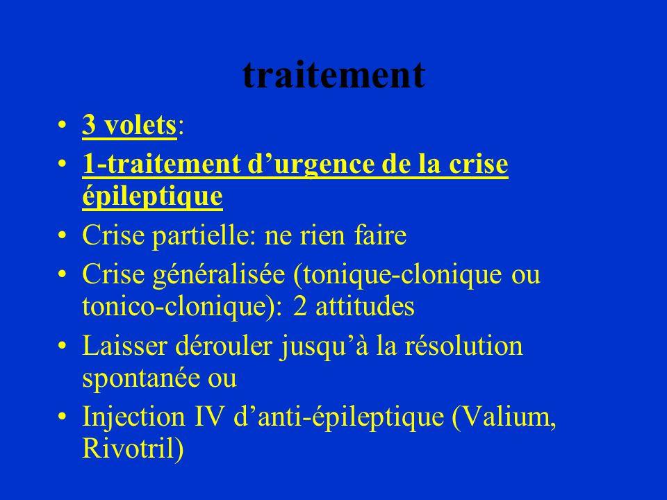 traitement 3 volets: 1-traitement durgence de la crise épileptique Crise partielle: ne rien faire Crise généralisée (tonique-clonique ou tonico-cloniq