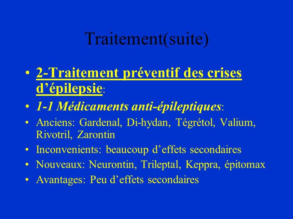 Traitement(suite) 2-Traitement préventif des crises dépilepsie : 1-1 Médicaments anti-épileptiques : Anciens: Gardenal, Di-hydan, Tégrétol, Valium, Ri