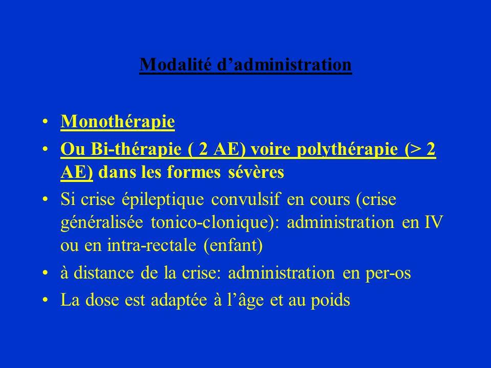 Modalité dadministration Monothérapie Ou Bi-thérapie ( 2 AE) voire polythérapie (> 2 AE) dans les formes sévères Si crise épileptique convulsif en cou