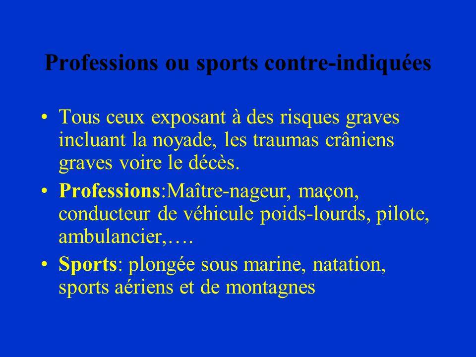 Professions ou sports contre-indiquées Tous ceux exposant à des risques graves incluant la noyade, les traumas crâniens graves voire le décès. Profess
