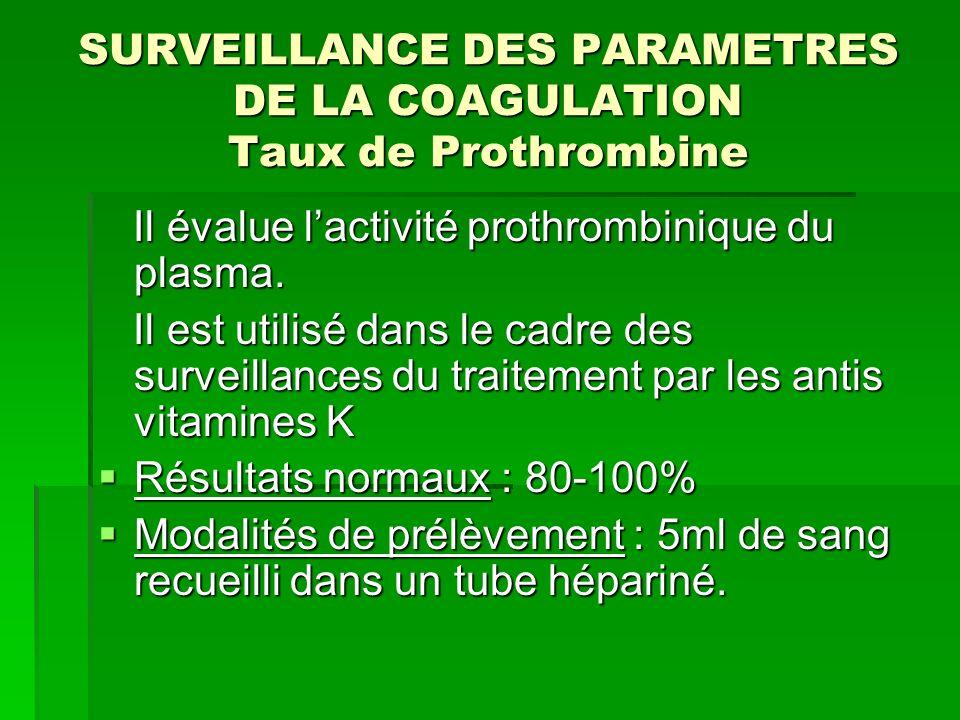 SURVEILLANCE DES PARAMETRES DE LA COAGULATION Taux de Prothrombine Il évalue lactivité prothrombinique du plasma. Il évalue lactivité prothrombinique