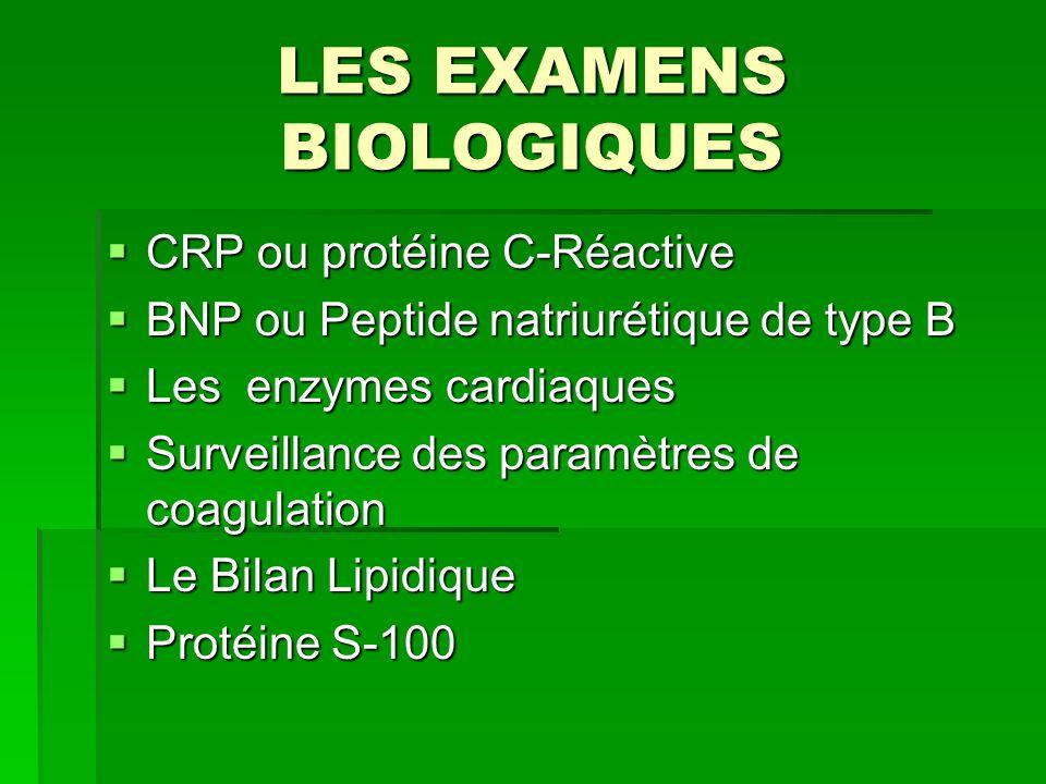 LES EXAMENS BIOLOGIQUES CRP ou protéine C-Réactive CRP ou protéine C-Réactive BNP ou Peptide natriurétique de type B BNP ou Peptide natriurétique de t