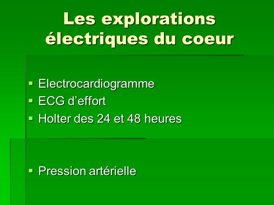 Les explorations électriques du coeur Electrocardiogramme Electrocardiogramme ECG deffort ECG deffort Holter des 24 et 48 heures Holter des 24 et 48 h
