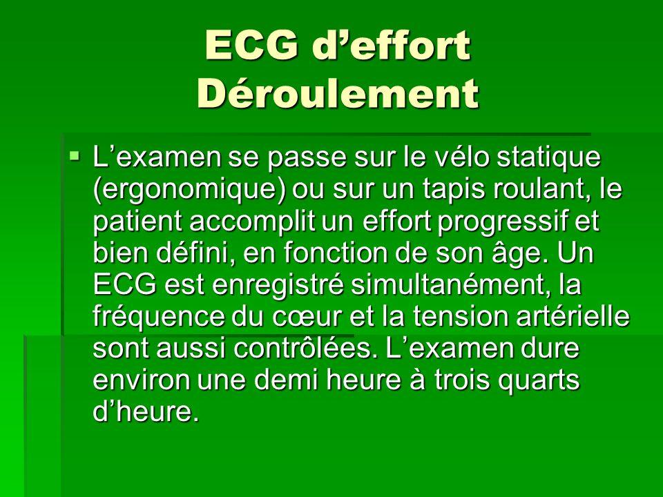 ECG deffort Déroulement Lexamen se passe sur le vélo statique (ergonomique) ou sur un tapis roulant, le patient accomplit un effort progressif et bien