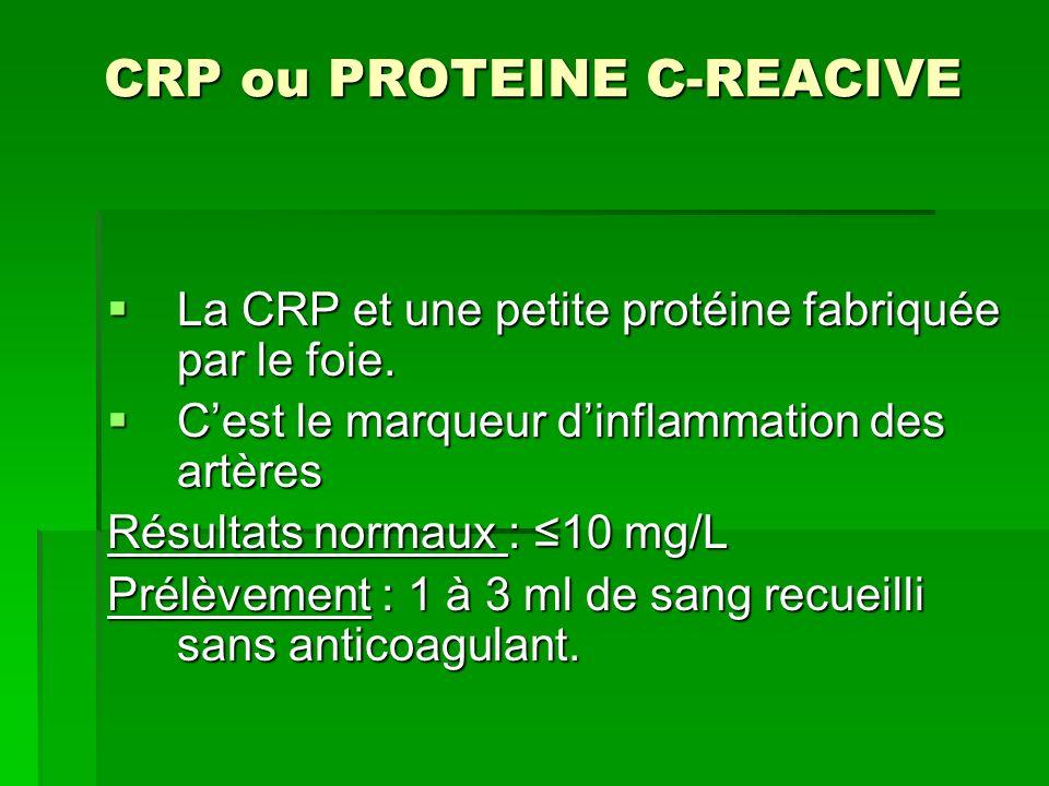 CRP ou PROTEINE C-REACIVE La CRP et une petite protéine fabriquée par le foie. La CRP et une petite protéine fabriquée par le foie. Cest le marqueur d