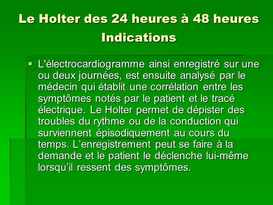 Le Holter des 24 heures à 48 heures Indications L'électrocardiogramme ainsi enregistré sur une ou deux journées, est ensuite analysé par le médecin qu