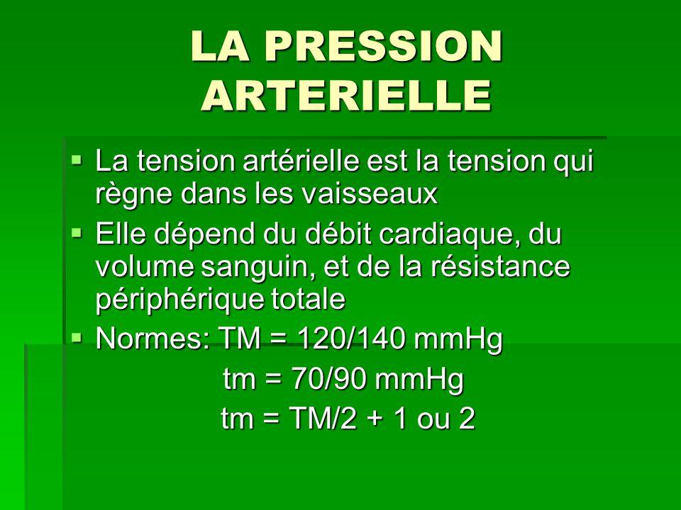 LA PRESSION ARTERIELLE La tension artérielle est la tension qui règne dans les vaisseaux La tension artérielle est la tension qui règne dans les vaiss