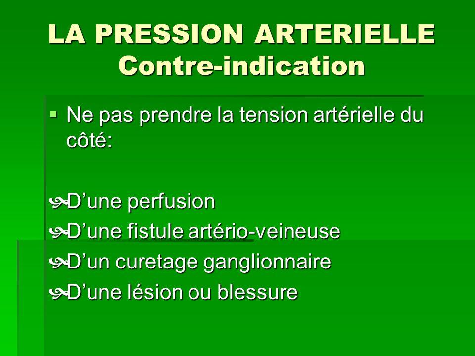 LA PRESSION ARTERIELLE Contre-indication Ne pas prendre la tension artérielle du côté: Ne pas prendre la tension artérielle du côté: Dune perfusion Du
