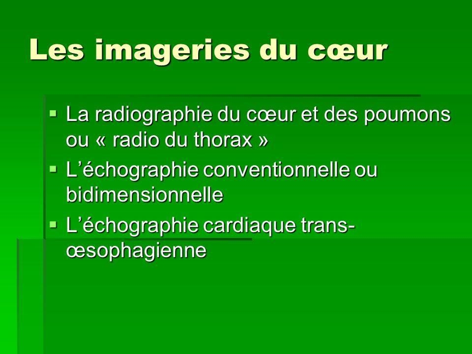 Les imageries du cœur La radiographie du cœur et des poumons ou « radio du thorax » La radiographie du cœur et des poumons ou « radio du thorax » Léch