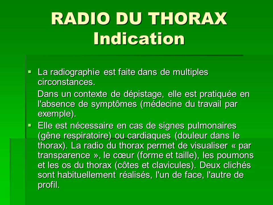 RADIO DU THORAX Indication La radiographie est faite dans de multiples circonstances. La radiographie est faite dans de multiples circonstances. Dans