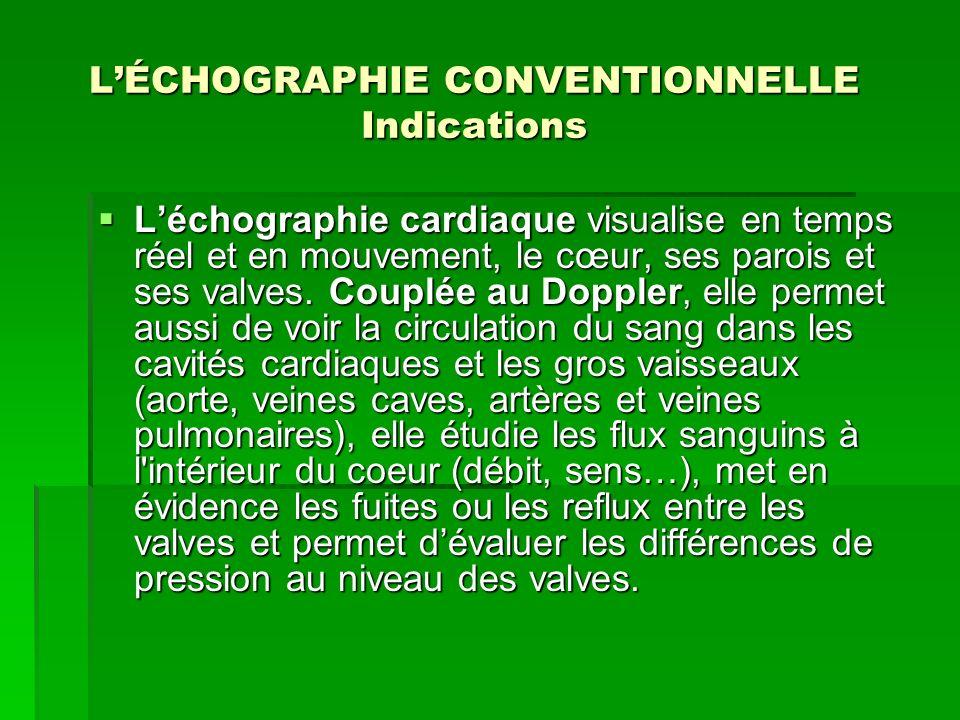 LÉCHOGRAPHIE CONVENTIONNELLE Indications Léchographie cardiaque visualise en temps réel et en mouvement, le cœur, ses parois et ses valves. Couplée au