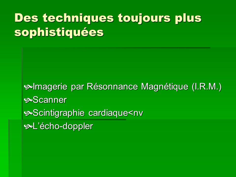 Des techniques toujours plus sophistiquées Imagerie par Résonnance Magnétique (I.R.M.) Imagerie par Résonnance Magnétique (I.R.M.) Scanner Scanner Sci