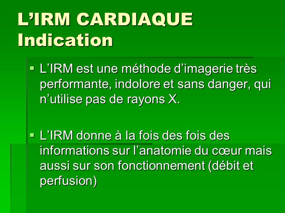 LIRM CARDIAQUE Indication LIRM est une méthode dimagerie très performante, indolore et sans danger, qui nutilise pas de rayons X. LIRM est une méthode