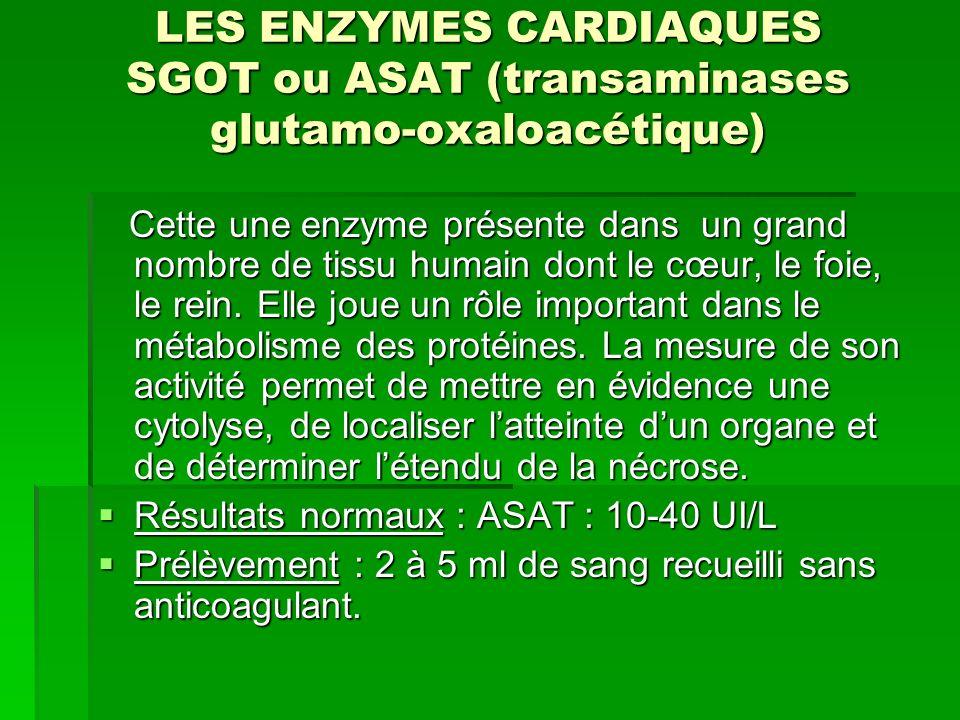 LES ENZYMES CARDIAQUES Les CPK Les CPK sont des enzymes cellulaires qui participent au transfert dénergie dans la cellule Les CPK sont des enzymes cellulaires qui participent au transfert dénergie dans la cellule Résultats normaux : Homme : 15-130UI/L Résultats normaux : Homme : 15-130UI/L Femme : 15-95UI/L Femme : 15-95UI/L Modalité de prélèvement : Modalité de prélèvement : Lorsque le dosage est réalisé entre les 12 et 24ième heures, la sensibilité des CPK pour la sensibilité dinfarctus est de 95% Lorsque le dosage est réalisé entre les 12 et 24ième heures, la sensibilité des CPK pour la sensibilité dinfarctus est de 95%