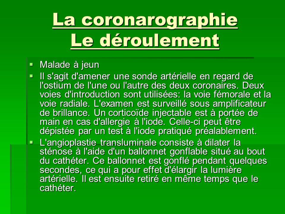 La coronarographie Le déroulement Malade à jeun Malade à jeun Il s'agit d'amener une sonde artérielle en regard de l'ostium de l'une ou l'autre des de
