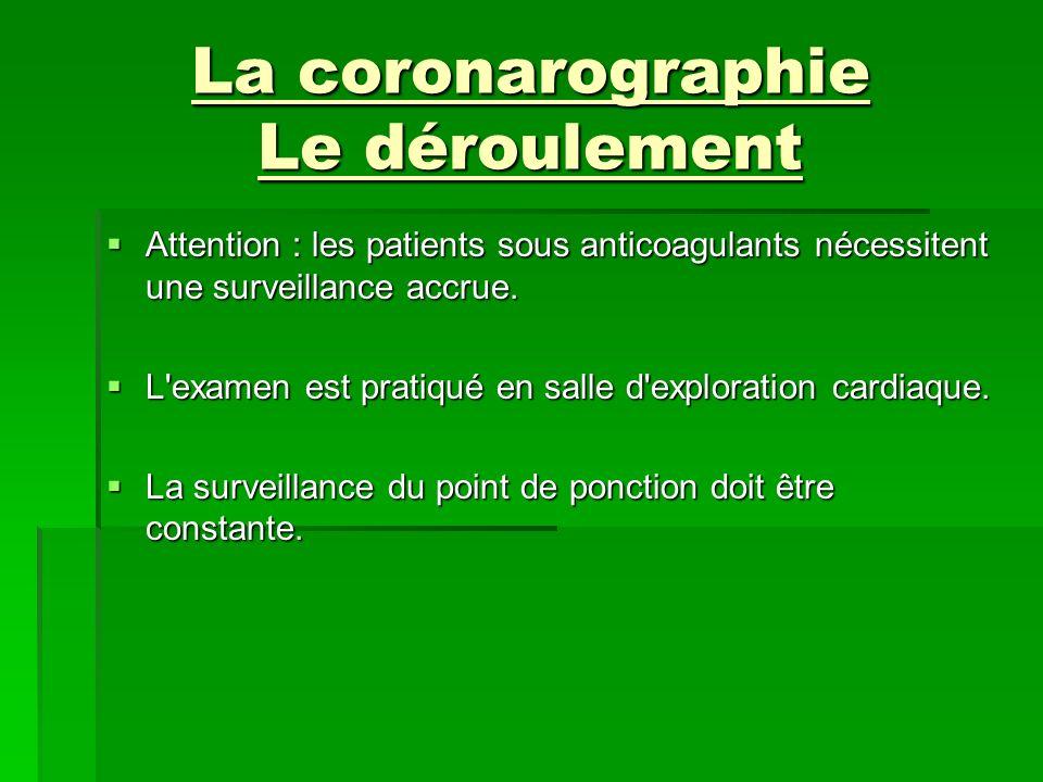 La coronarographie Le déroulement Attention : les patients sous anticoagulants nécessitent une surveillance accrue. Attention : les patients sous anti