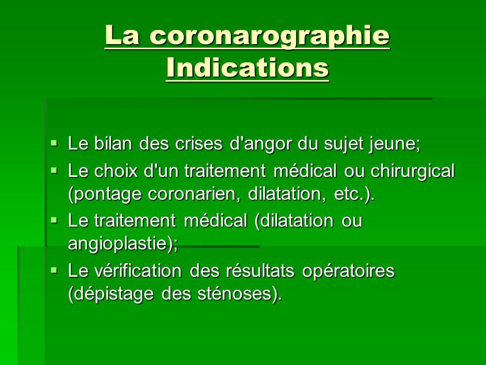 La coronarographie Indications Le bilan des crises d'angor du sujet jeune; Le bilan des crises d'angor du sujet jeune; Le choix d'un traitement médica