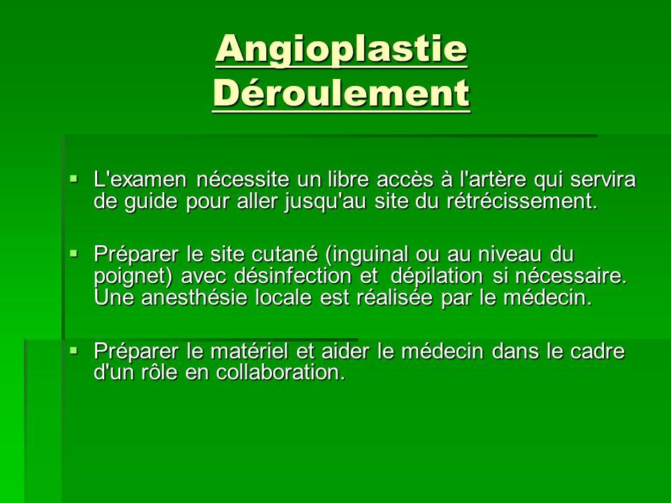 Angioplastie Déroulement L'examen nécessite un libre accès à l'artère qui servira de guide pour aller jusqu'au site du rétrécissement. L'examen nécess