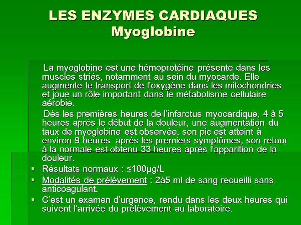 LES ENZYMES CARDIAQUES Myoglobine La myoglobine est une hémoprotéine présente dans les muscles striés, notamment au sein du myocarde. Elle augmente le