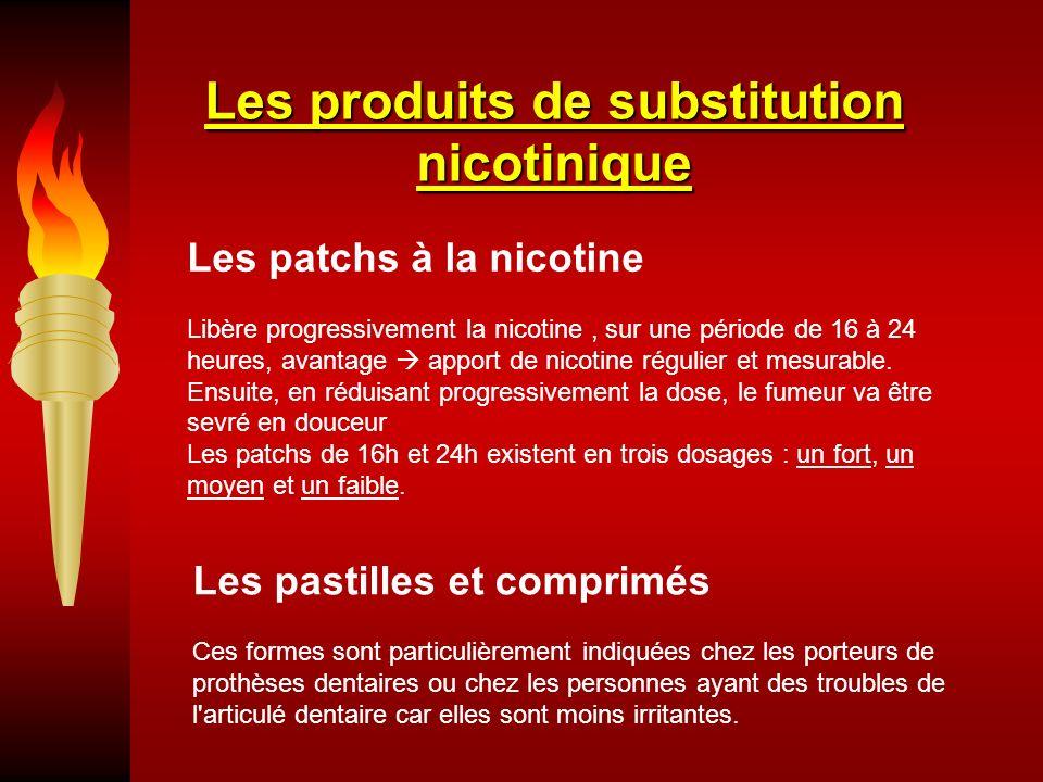 Les produits de substitution nicotinique Les patchs à la nicotine Libère progressivement la nicotine, sur une période de 16 à 24 heures, avantage apport de nicotine régulier et mesurable.