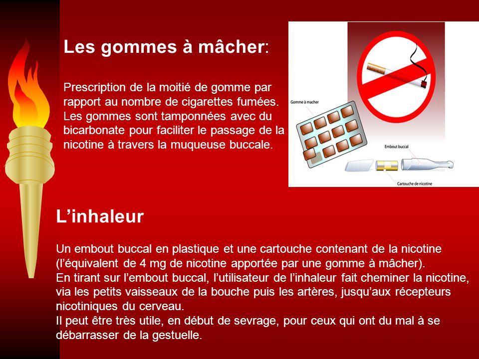 Linhaleur Un embout buccal en plastique et une cartouche contenant de la nicotine (léquivalent de 4 mg de nicotine apportée par une gomme à mâcher). E