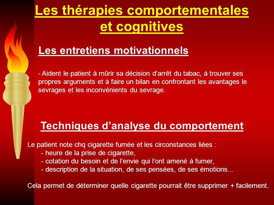 Les thérapies comportementales et cognitives Les entretiens motivationnels - Aident le patient à mûrir sa décision darrêt du tabac, à trouver ses prop