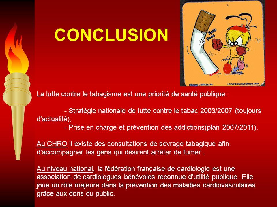 La lutte contre le tabagisme est une priorité de santé publique: - Stratégie nationale de lutte contre le tabac 2003/2007 (toujours dactualité), - Pri