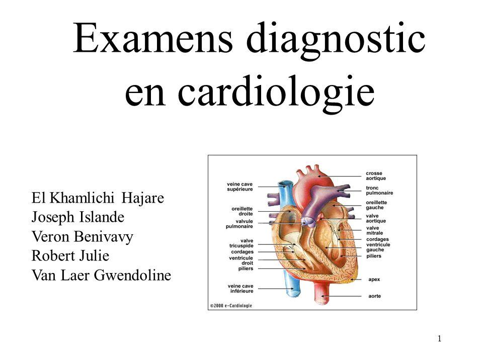 Examens diagnostic en cardiologie 1 El Khamlichi Hajare Joseph Islande Veron Benivavy Robert Julie Van Laer Gwendoline