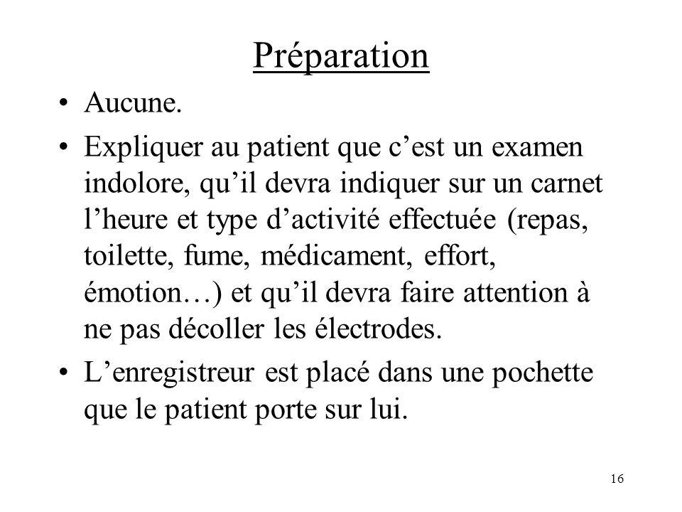 Préparation Aucune. Expliquer au patient que cest un examen indolore, quil devra indiquer sur un carnet lheure et type dactivité effectuée (repas, toi