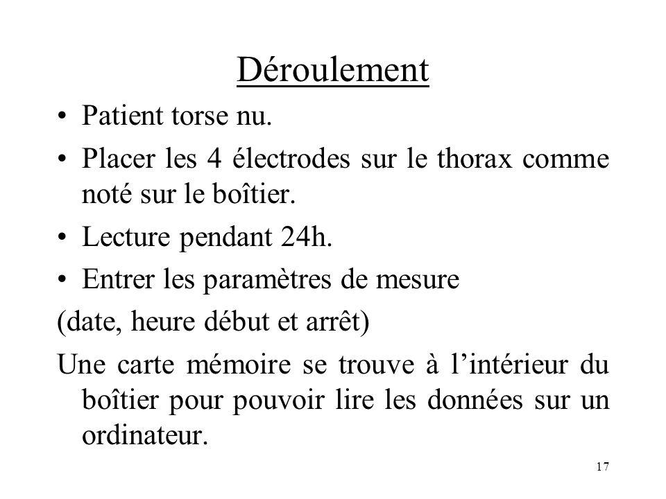 Déroulement Patient torse nu. Placer les 4 électrodes sur le thorax comme noté sur le boîtier. Lecture pendant 24h. Entrer les paramètres de mesure (d